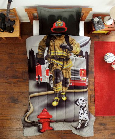 Ha, so cool! When your little guy climbs in bed, his blanket and pillow make him look like a real fire fighter! Others to choose from too. :) Fire Fighter Comforter Set