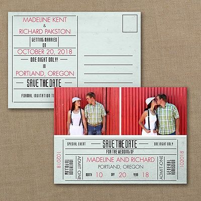 Here's the #ticket to the most special #event of the year - your #wedding! The fun design, your #photos and your choice of colors on this #savethedate #postcard will get everyone to mark their calendars. http://foreverfriendsfinestationeryandfavors.com