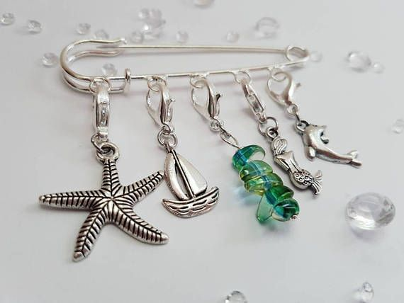 Set of 5 ocean stitch markers progress keepers gifts for