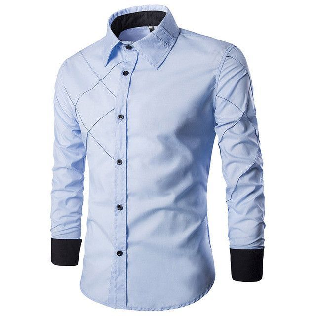 Men's Shirts Casual Turn-down Collar Striped Shirt Long Sleeve Dress 13CS14