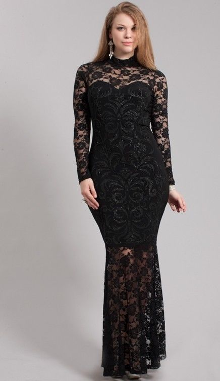 PLUS SIZE BLACK LACE DRESS - Kapres Molene