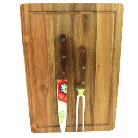 Laurie Gates Daisie Carving Knife and Fork set with Acacia Wood Cutting Board
