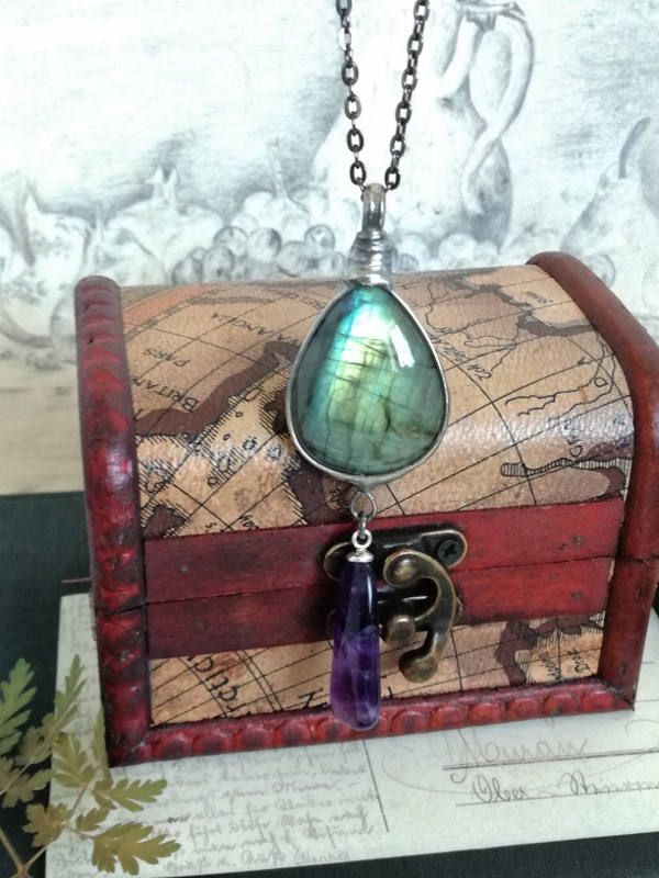 Labradorite Necklace, Amethyst Pendant, Labradorite Jewelry, old silver tin, Stylish Jewelry, Gift for her, Bohemian gipsy, shining necklace by BUSTANI on Etsy