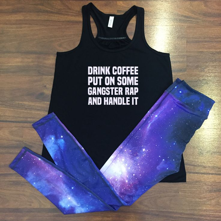 Motivational Workout Tank Top & Fitness Leggings Outfit