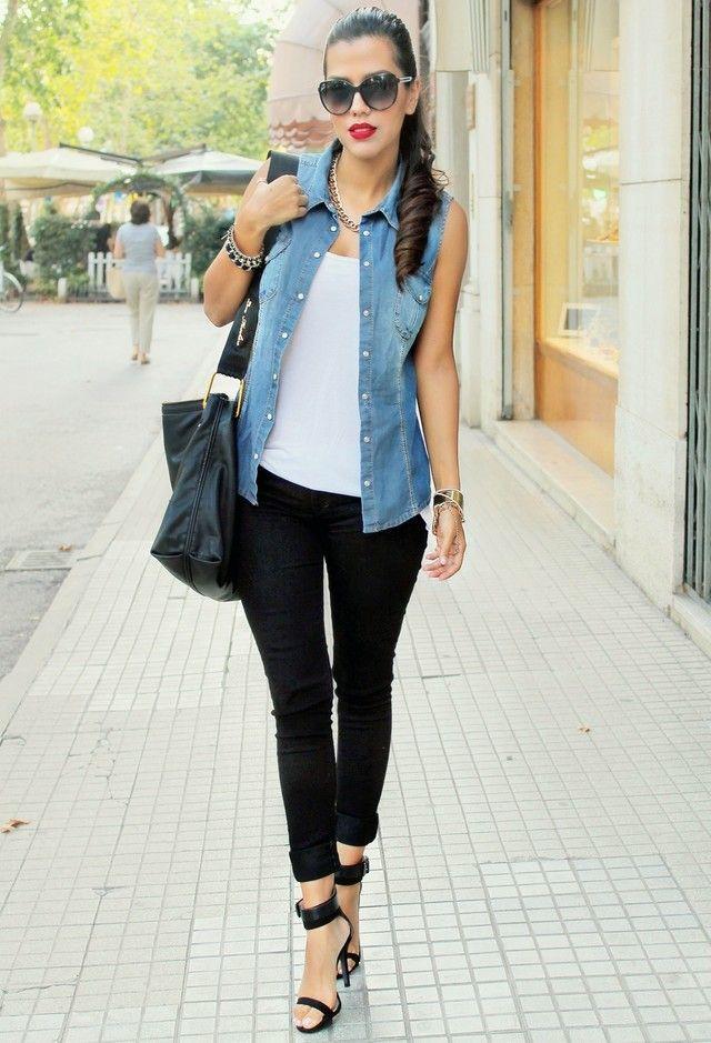 roupa de verão com colete jeans