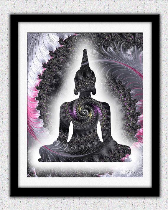 Silvee black Buddha print pink gray Buddha by theartofthematrix