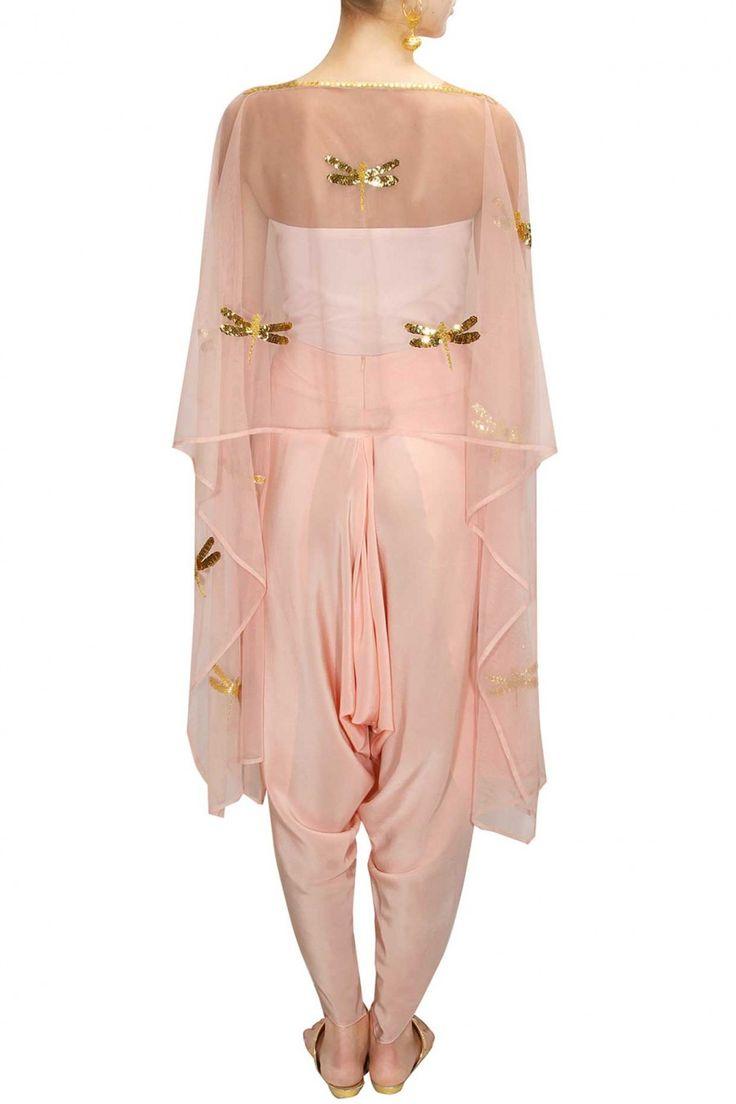 AYINAT BY TANIYA O'CONNOR Blush pink dragonfly cape top with draped shoti pants