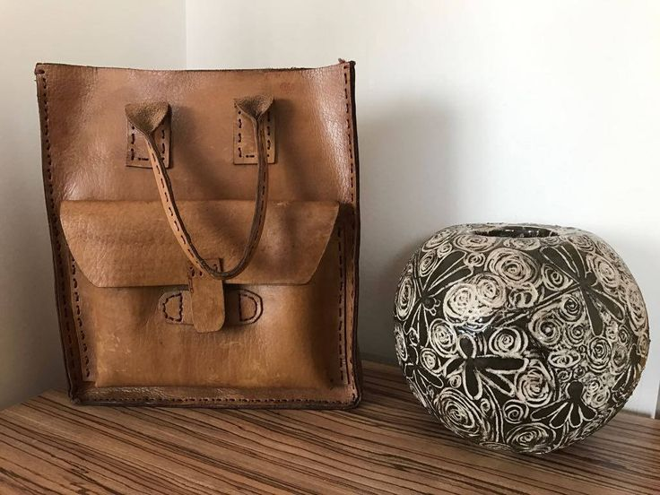Leather Tote Bag , handmade %100 original leatherr brown hand bag  unique by MadeByCanan on Etsy