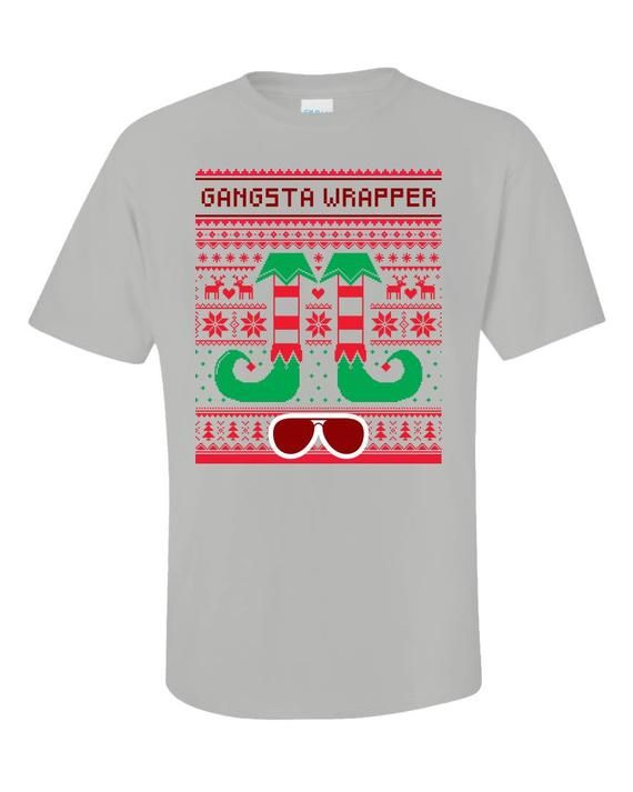 5d42f4f9 Gangsta Wrapper Elf Ugly Christmas Sweater Gangster Rapper - Unisex T-Shirt  #UglySweater #gangster #rapper #SweaterStyle #presents #traditions ...