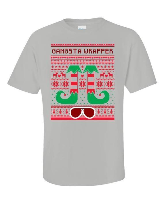 b5d1acbf Gangsta Wrapper Elf Ugly Christmas Sweater Gangster Rapper - Unisex T-Shirt  #UglySweater #gangster #rapper #SweaterStyle #presents #traditions ...