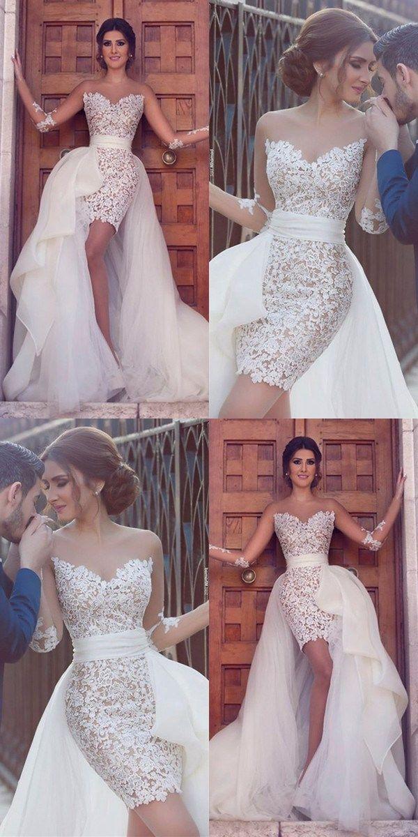 Sheath Sweetheart White Lace Short Evening Wedding Dress With Detachable Train Hig Evening Dresses For Weddings Courthouse Wedding Dress Short Wedding Dresses
