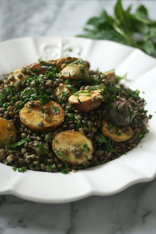 French Lentil Salad Recipe with Roasted Potatoes, Dijon Vinaigrette and Fresh Herbs   Easy Healthy Summer Salad   Great Served Warm or Cold!   Vegetarian
