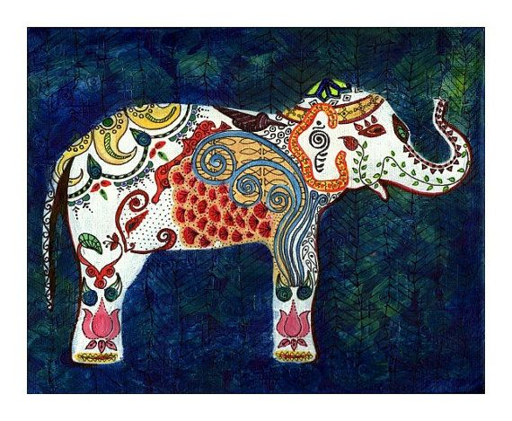 The Queen Elephant - India Inspired Exotic Art Print - Limited Edition - Will surely make your place stand out on Etsy, $27.00