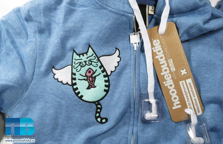Вышивка на трикотаже для детей: летающая кошка с рыбкой