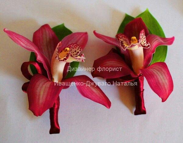 Бутоньерка из орхидей цвета марсала в Киеве #бутоньерка #марсала #орхидеямарсала #бутоньеркимарсала