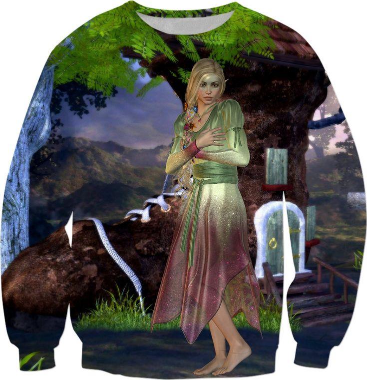 Green Fairy and Shoe House Sweatshirt  #rageon #erikakaisersot #sweatshirts #fairytales