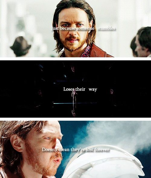 """(gif set) """"Just because someone stumbles, loses their way, doesn't mean they're lost forever.""""     X-Men: Days of Future Past"""