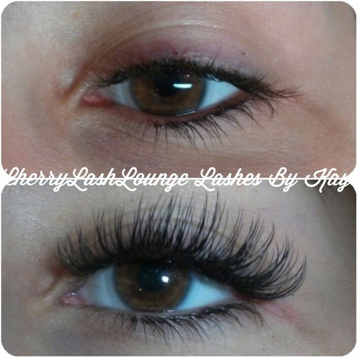 Before and after full set of eyelash extensions at Cherry Lash Lounge