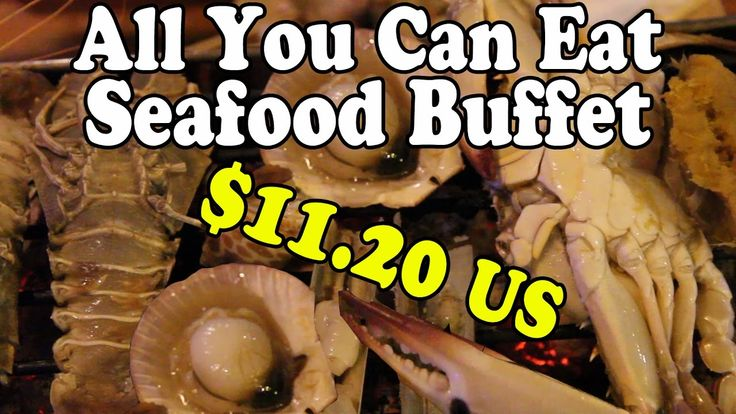 All You Can Eat Seafood Buffet. BBQ Seafood in Thailand. Eating Thai Foo...