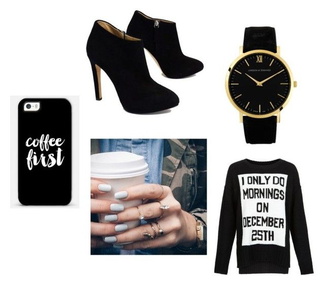 """""""i only do mornings on december 25th"""" by stephaniejs-1 on Polyvore featuring New Look, Giuseppe Zanotti, Casetify, Floss Gloss and Larsson & Jennings"""