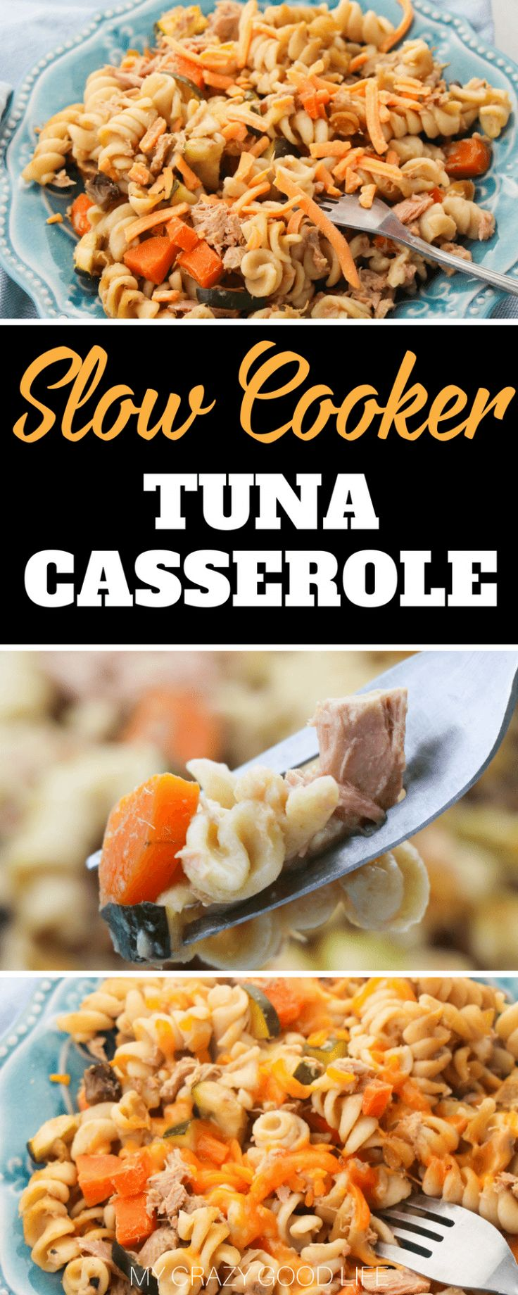 This slow cooker tuna casserole could not be easier! You'll love making this recipe for those quick weeknight dinners. You can customize this healthy tuna casserole by including your favorite veggies!#21dayfix #recipes #slowcooker