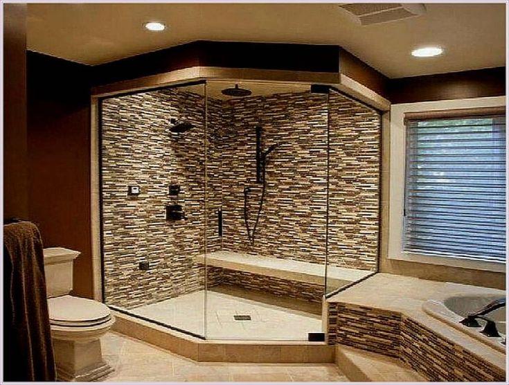 Bathroom, Bathroom Shower Ideas For Small Bathrooms Glass Panel And Brown Tile Walls Wooden Mirror Frame Suspended Rain Head Hand Hexagonal Floor Bronze Towel Holder: Amazing You'll Love