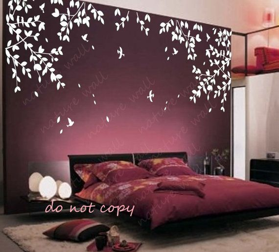 Stickers decals and murals on pinterest for Bed frame wall decal