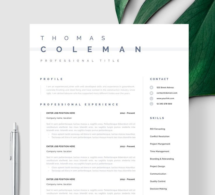 Resume Template Instant Download Word And Pages Simple Resume