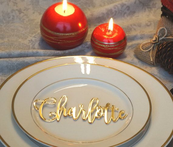 Gold mirror Wedding place cards Acrylic by EngraveCelebration