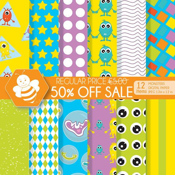 50% OFF SALE Monsters, digital paper set, commercial use, scrapbook papers, background, DP0007 by Sweetdesignhive on Etsy