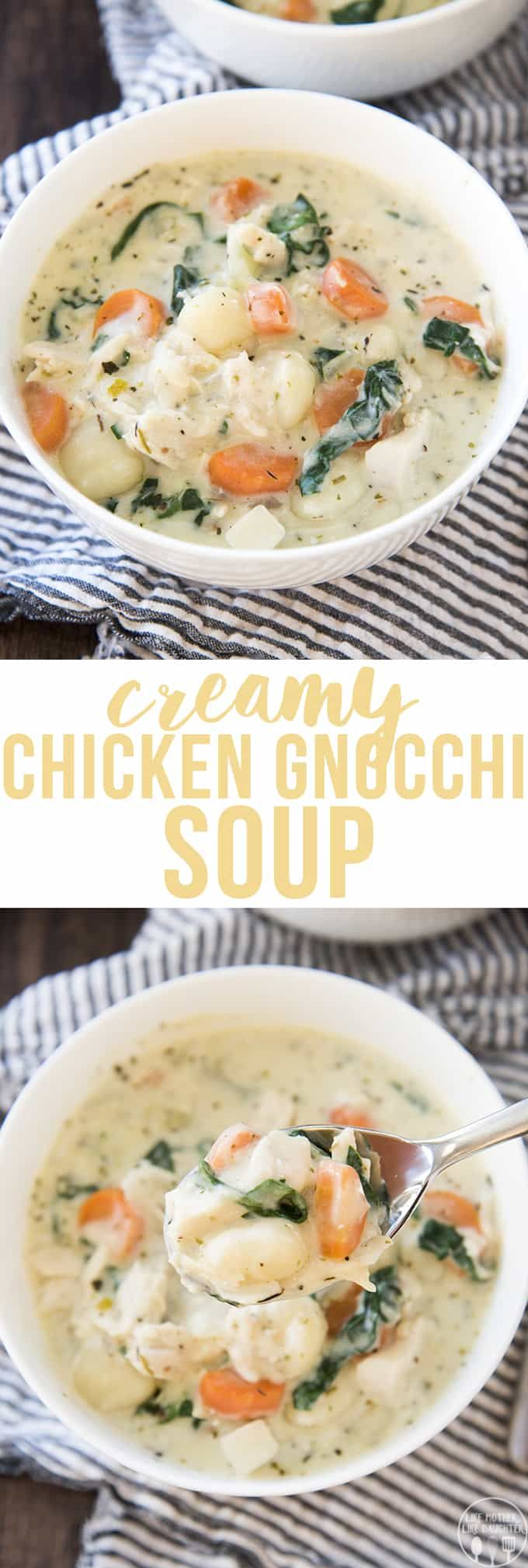 Creamy Chicken Gnocchi Soup is a thick and hearty soup packed full of vegetables, gnocchi, chicken and flavor, its ready in only 30 minutes, with only one pot!