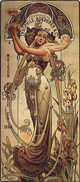Art Nouveau advert for Roederer champagne. By Alphonse Mucha.
