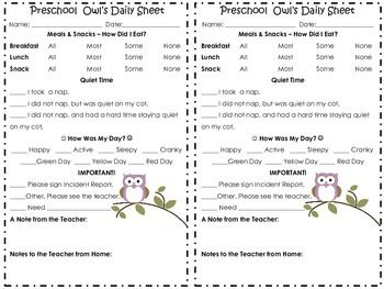 Parents want to know how their child is doing when at child care. And, when you have an owl-themed classroom, what better way to communicate than with an owl-themed daily sheet!This simple yet adorable daily sheet lets you communicate to parents about the child's eating habits, resting habits, and the child's day in general.