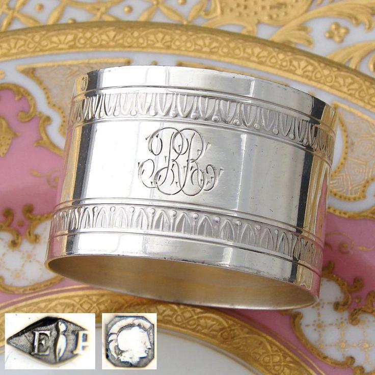 "Elegant Antique French PUIFORCAT Sterling Silver Napkin Ring, ""RR"" Monogram"