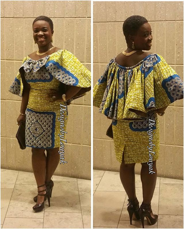 Cap Dress #couturefashion #africanprint #fashionista #customdesigner #westafrican #designsbylouyak   Designed by @designsbylouyak   Makeup by LouisaHanna