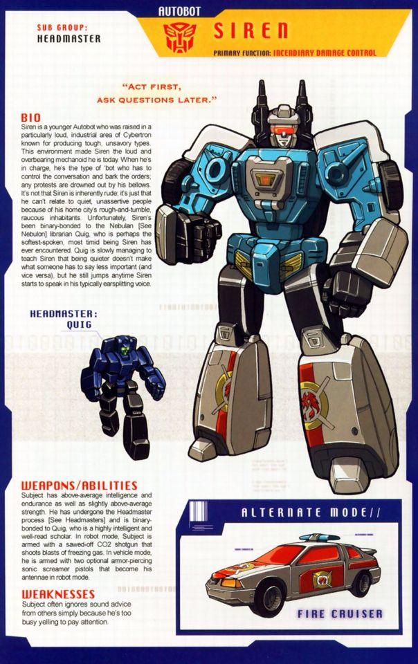 Transformers: Autobot - Headmaster - Siren w/ Quig