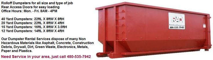 Although Right Away Disposal (RAD), provides dumpster rental services throughout Mesa, the largest city in the East Valley, we also provide the East Valley home owners, contractors, HOA's, retirement communities and many different types of local businesses in Apache Junction, Gilbert, Chandler, Queen Creek, San Tan Valley and Gold Canyon with the most popular Roll Off dumpster sizes to handle any type or size job.