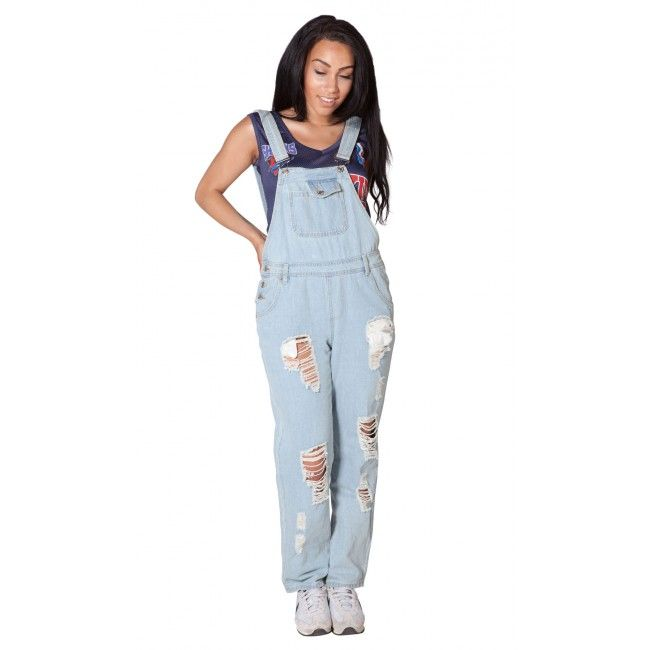 Bleached, Destroyed Denim Ladies Dungarees - Decon Recon?