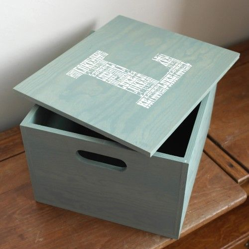 Personalised Baby Keepsake Box - with their name repeated inside their initial.