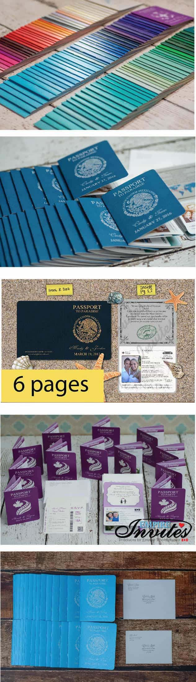 wedding cards with price in chennai%0A Custom Destination passport wedding invitations From Winnipeg  Canada   EMPIRE INVITES