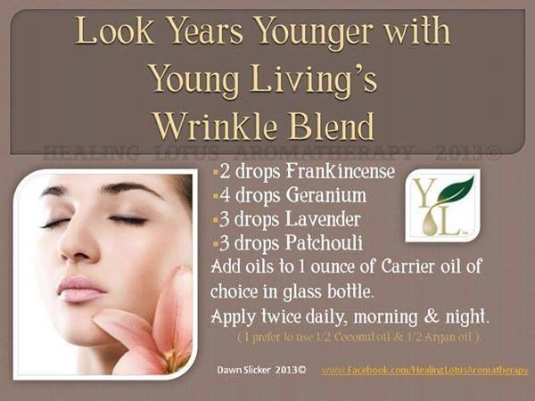 Wrinkle Blend essential oils for face - 2 drops frankincense, 4 drops geranium, 3 drops lavender, 3 drops patchouli. Add to one ounce carrier oil. by wendi