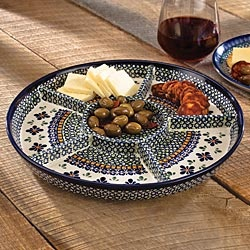 Great Polish Pottery Appetizer Tray For Entertaining!