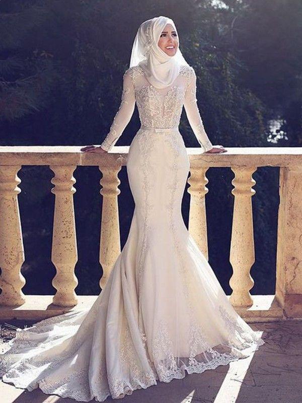 Modern Mood Mermaid Style Jewel Sweep/Brush Train Lace Tulle Wedding Dresses