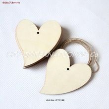 """(50pcs/lot) 73MM Blank Unfinished Wooden Heart Wedding Tags Supplies Wishing Favor Rustic Tags With String 2.9""""-CT1199(China (Mainland))"""