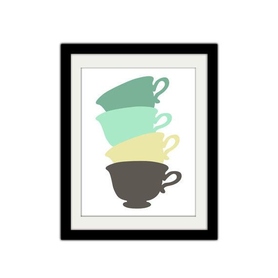 Stacked Tea Cups. Vintage Themed. Simple and Minimal. Tea Cup Poster. Kitchen