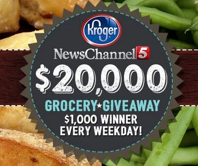 News Channel 5 is giving away more than $20,000.00 to spend at Kroger. A $1,000.00 winner will be announced every weeknight for 30 days!
