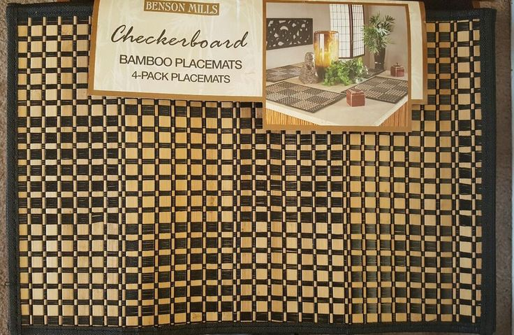 BENSON MILLS  Bamboo placemat  Checkerboard   table  protector  set of 4  New #BensonMills