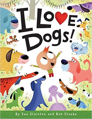 Spotty dogs, dotty dogs.Wrinkly dogs, crinkly dogs.Dogs, dogs, dogs, I love dogs! A walk through the park becomes an exuberant celebration - there are so many kinds of dogs to love! From yappy dogs and happy dogs to naughty dogs and haughty dogs, this playful ode by Sue Stainton and Bob Staake pays tribute to the varied personalities and quirks that make dogs such lovable friends.