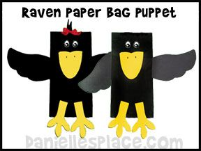 Printable Paper Bag Puppets | These puppets can also be used as raven puppets for the story of the ...