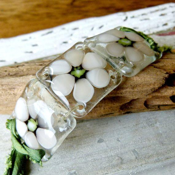 Flowers  fused glass jewelry  Fused glass by ArtoftheMoment